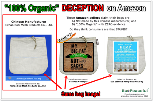 Fake Organic Hemp Nut Milk Bags Sold On